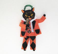 Vintage Style Halloween Ornament Cool Cat Band LEAD by HolidayCat, $15.50