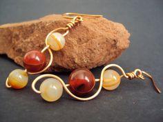 Brown Agate Tri-Stone This-N-That Earrings by ~baldwin857 on deviantART