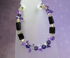 Black and Purple Gemstone Bracelet by joolrylane on Etsy, $25.00