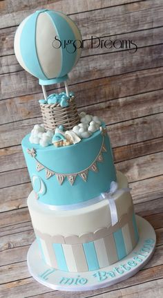 Hot air balloon cake for a baptism !!!