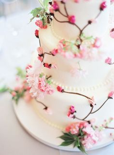 Cherry blossom wedding cake - pretty!