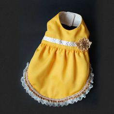 Cute Reversible Pet dress yellow & white by ILoveTjCrafts on Etsy