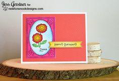 Bright Flower Card by Jess Gerstner | Garden Starter Stamp Set & Garden Window Die | Newton's Nook Designs #newtonsnook