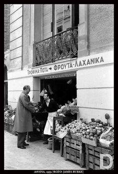 1960 ~ Greek Prime Minister Konstantinos Karamanlis visiting a grocery store in Kolonaki, Athens Old Photos, Vintage Photos, Greece History, Greece Photography, Roman History, Athens Greece, Greek Life, Greek Islands, Historical Photos