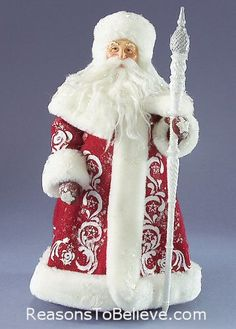 Christmas Finery - Antique Toy Chest - Clothtique Collectible Santa figurine by Possible Dreams. Intricately detailed old world Santa in traditional red and white and carrying a staff. Father Christmas, Christmas Love, All Things Christmas, Handmade Christmas, Vintage Christmas, Christmas Crafts, Christmas Holidays, Christmas Decorations, Christmas Ornaments