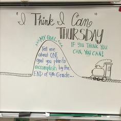 I think I can Thursday. Tell me one goal you plan to accomplish by the end of ___ grade. Journal Prompts, Journals, Morning Announcements, Teaching Theatre, 5th Grade Writing, Morning Board, Morning Meetings, Daily Writing Prompts, Responsive Classroom