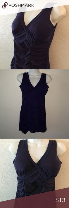 BNWTS Navy Blue CORSET Tank Top Size large navy blue color brand-new with tags's very cute padded cups strappy corset front wrapped and shipped with care Tops Tank Tops
