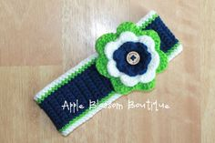 Crochet Seahawks Headband   Womens Headband   Child Headband   Crochet Headband   Seattle Seahawks Inspired   Adult   Football   Crochet
