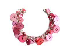 Jewelry Pink Charm Bracelet Buttons  Pretty by LovesParisStudio, $30.00