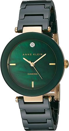 Anne Klein Womens DiamondAccented Green Ceramic Bracelet Watch >>> Details can be found by clicking on the image. Trendy Watches, Elegant Watches, Beautiful Watches, Ladies Watches, Women's Watches, Anne Klein Watch, Jewelry Clasps, Jewellery, Luxury Watches