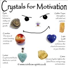 Rainbow Spirit crystal shop - My poster showing crystals with healing properties to motivate you