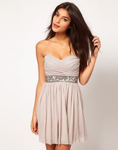 Elise Ryan Embellished Waist Mesh Skater Dress - $63