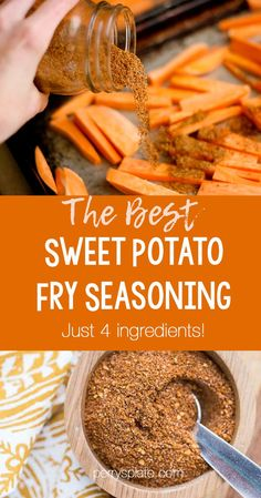 This easy seasoning is only 4 ingredients and makes THE best sweet potato fry seasoning. Its also great as a dry rub for Sweet Potato Fries Seasoning, Chip Seasoning, Making Sweet Potato Fries, Burger Seasoning, Sweet Potato Chips, Seasoning Mixes, Sweet Potato Recipes, Roasted Potato Seasoning Recipe, Fried Sweet Potato