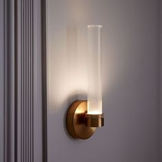 Fluted Cylinder Sconce, Brass/Clear Glass, 1-Light