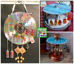 Foto: Veja essa ideia de como organizar seus brincos e reciclar CDs. Fonte http://goodideasforyou.com/mix-a-match/2384-diy-cd-spindle-earrin...