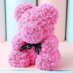 Wedding Party Decoration Valentine's Day Gift Artificial Roses Bear - Pink Mobile