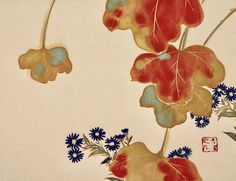 Kamisaka Sekka Flowers of the twelve months, one leaf from a set of 12 album leaves, ink and colour on silk. Hosomi Museum, Kyoto.
