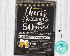 Items similar to Cheers & Beers Birthday Invitation man birthday party beer vintage design invite any age invitation - card 417 on Etsy 50th Birthday Party Invitations, Birthday Thank You, Unicorn Birthday Parties, Man Birthday, Birthday Ideas, Birthday Gifts, Birthday Sayings, Birthday Images, Birthday Greetings