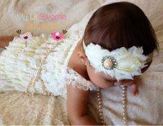 Baby Girl Headband Ivory Double Flower by MyLilSweetieBoutique