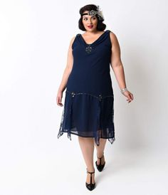 3dd5e28a6ed Unique Vintage Plus Size Navy Hemingway Flapper Dress Gatsby Dress Plus  Size