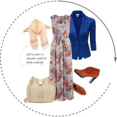 ~Isn't this outfit charming and so autumn-inspired!~  A simple charming floor length dress in vintage colored floral print with a bright modern blue blazer with ruched sleeves. Rust colored ankle boots and a delicate peach scarf accessorize. Toss in an ivory colored cinch bag for an outing. Lovely #modest charming outfit!