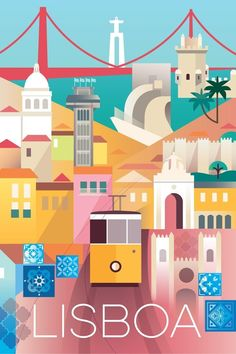 Poster of Lisbon city. Light colors, vintage vibes, beautiful city and yellow tram. Illustration of Portugal. Retro Poster, Travel Illustration, Landscape Illustration, Graphic Illustration, Photos Voyages, Travel Scrapbook, Vintage Travel Posters, Travel Inspiration, Travel Photography