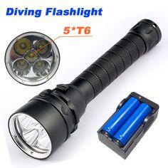 T6 COB Flashlight Diving Torch 3 Modes Ultra Bright Lantern Waterproof EV