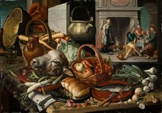 Kitchen Still Life with a Scene of the Supper at Emmaus Beyond, 1551-1553