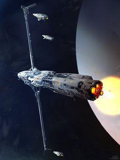 ArtStation - refueling spaceship sketch, sparth .