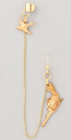 Cornelia Webb Pistol earring with bird cuff