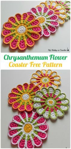 Crochet Chrysanthemum Flower Coaster Free Pattern - Crochet Coasters Free Patterns
