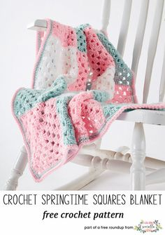 Crochet this easy granny square stitch beginner baby blanket from Yarnspirations from my best crochet baby blankets for 2018 free pattern roundup!