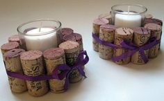 Cork Votive holders! This would look great on my table.