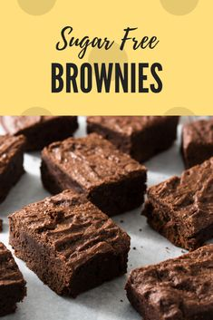 These easy, yummy brownies are sugar free! Sugar Free Baking, Sugar Free Desserts, Sugar Free Recipes, Low Carb Desserts, Cookie Bars, Bar Cookies, Sugar Free Brownies, Healthy Baking, Healthy Food