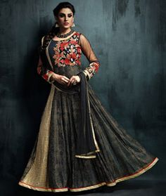 Buy Black Art Silk Readymade Anarkali Suit 76924 online at lowest price from huge collection of salwar kameez at Indianclothstore.com.