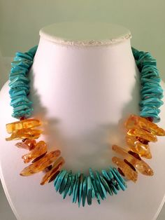 Huge Honey Cognac Baltic Amber Turquoise Necklace Beads