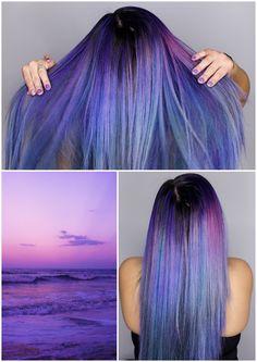 Sunset hair, sunrise hair, purple hair, galaxy hair, pravana vivids, pravana, fashion color, fantasy colors, mermaid hair, periwinkle hair, lavender hair, purple haze, night sky
