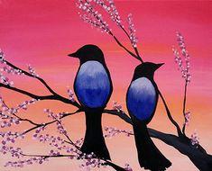 Birds in Bloom - www.paintnite.com #PaintNite #Art #LiveCreatively #Birds