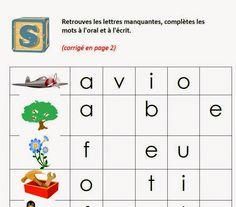 Trouver la ou les lettres manquantes pour construire un mot - Une activité pour aider l'enfant qui se prépare à apprendre à lire, à écrire, où il doit reconnaître des mots avec des lettres manquantes. L'image de départ le guide dans sa lecture et sa recherche. Selon l'âge, l'enfant répondra à l'oral (seulement) et à l'écrit.