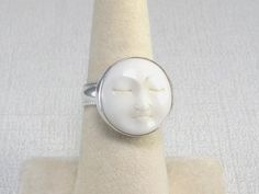 Moon Ring - Carved Moon Silver Ring -  Moon Silver Ring Size 8- Sterling Moon Ring- Ivory Moon Ring- Silver Moon Ring- Artisan- Celestial on Etsy, $68.00