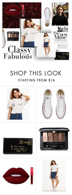 """shein contest  t-shirt"" by amerline ❤ liked on Polyvore featuring Converse, Yves Saint Laurent, Guerlain and Lime Crime"
