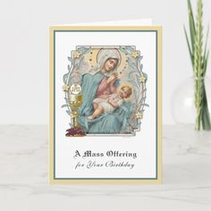Catholic Birthday Mass Offering Jesus Eucharist Card Birthday Scripture, It's Your Birthday, Birthday Cards, Catholic Mass, Eucharist, Custom Greeting Cards, Zazzle Invitations, Thoughtful Gifts, Holy Rosary