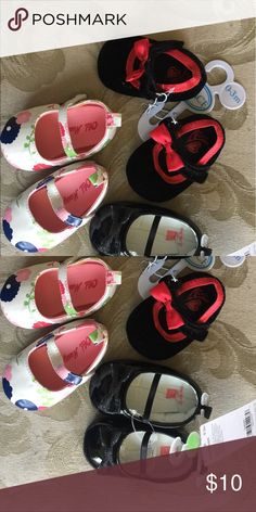 Baby Girl Shoe Lot Lot of 3 pairs Girl Shoes 0-3 months. 2 pairs NWT, 1 pair worn 3 times. Black Patent with iridescent black bow, Floral leather-like and Black velvet trimmed with Red Satin. Shoes Baby & Walker