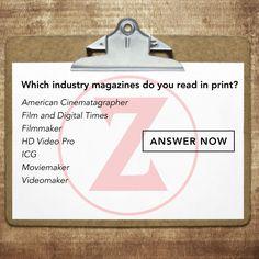Do you read industry magazines? If so, which ones? We want to know! #surveymonkey #filmmakers  ANSWER NOW: https://www.surveymonkey.com/r/zacuto-magazines