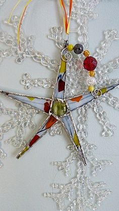 Whimsical Stained  Glass Star Fall Colors Rust Yellow by miloglass