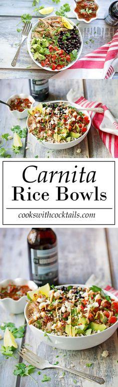 Carnita Rice Bowl Recipe - with avocado and black beans