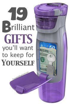 Some really unique and useful gift ideas - Like this Purple Sipper Bottle with a cash / ID compartment! http://www.buzzfeed.com/alannaokun/awesome-gifts-youll-want-to-keep-for-yourself#.vnLZo9zOq                                                                                                                                                      More