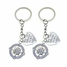 """2pcs """"Always in my Heart"""" Compass Keychain Friendship Sister Best Friend Couples Best Friend Couples, Best Friends Sister, Sister Gifts, Friendship Jewelry, Friendship Gifts, His And Hers Jewelry, Mother Daughter Necklace, Sisters By Heart, Love My Husband"""