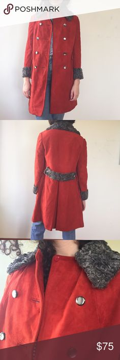 Amazing Vintage 70's Suede and Curly Lamb Coat The most amazing soft suede in ultra cool orange/red. Great vintage condition. Please have a look at the pictures for better reference. Vintage Jackets & Coats