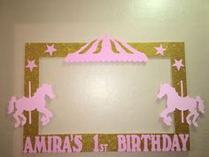 Circus Carousel Pink and Gold Birthday Photo Booth Frame to Take Pictures | eBay